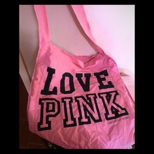 Pink Victoria's Secret fabric tote bag
